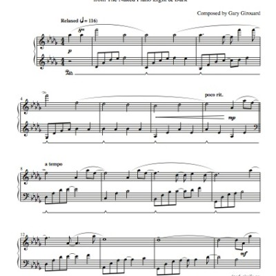"""Streaks of Light"" Solo Piano Sheet Music (from the Naked Piano Light & Dark)"