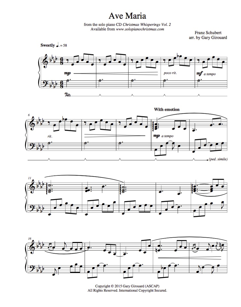 """Super Ave Maria"""" (Schubert Version) Solo Piano Sheet Music (from  HA95"""