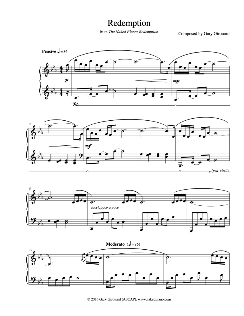 Redemption solo piano sheet music from the naked piano redemption solo piano sheet music from the naked piano transitions gary girouard the naked piano hexwebz Image collections
