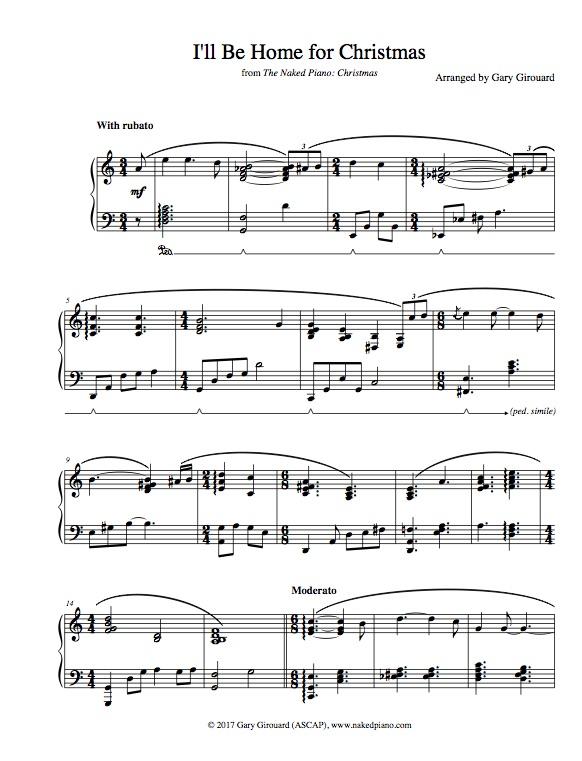Free Christmas Sheet Music.I Ll Be Home For Christmas Solo Piano Sheet Music From The Naked Piano Christmas